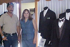 [Photo 3: Sara and her husband at her Los Fresnos Tuxedo store]