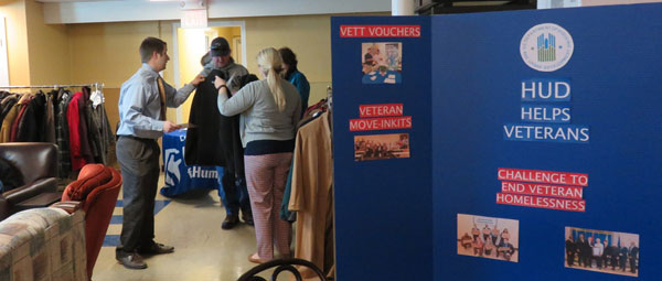 [Photo 2: Coats and socks were handed out to those needing warmth at the Veteran Housing Blitz in Lexington]
