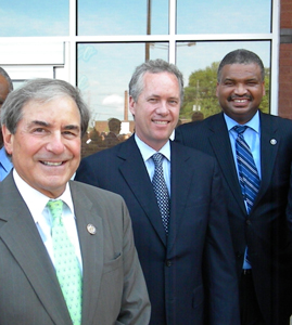 [Photo 1: Left to Right - Congressman John Yarmuth (D-3), Louisville Metro Mayor Greg Fischer, and HUD Southeast Regional Administrator Ed Jennings, Jr.]