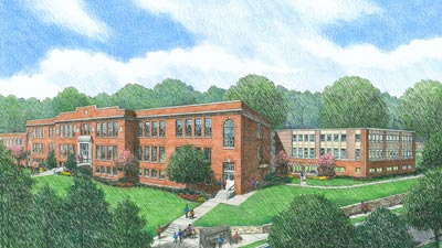 [Image 1: Artist Rendition of Veranda at Whitted School Apartments]