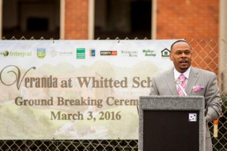[Photo 3: HUD SE Multifamily Director Ruben Brooks addresses the audience gathered at the groundbreaking]
