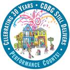 "Seal of reading ""Celebrating 30 Years - CDBG Still Delivers - Performance Counts!"